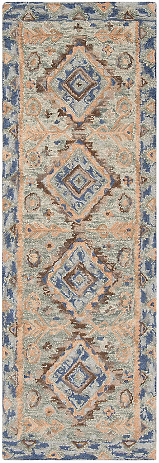 "Accessory 2'3"" x 7' Runner Rug, Blue/Beige, large"
