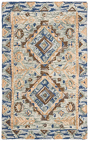 Accessory 3' x 5' Area Rug, Blue/Beige, large
