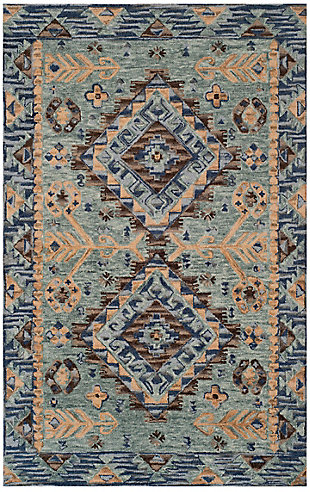 Accessory 7' x 7' Round Rug, Blue/Beige, large