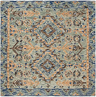 Accessory 7' x 7' Square Rug, Blue/Beige, large