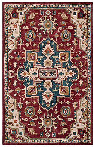Accessory 5' x 8' Area Rug, Red/Beige, large