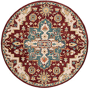 Accessory 7' x 7' Round Rug, Red/Beige, large