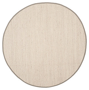 Natural Fiber 8' x 8' Round Rug, Beige/Natural, large