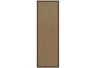 "Natural Fiber 2'6"" x 12' Runner Rug, Brown, large"