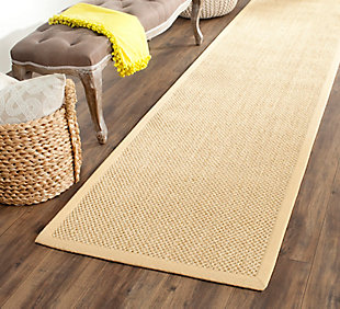 "Natural Fiber 2'6"" x 12' Runner Rug, Beige/Natural, rollover"