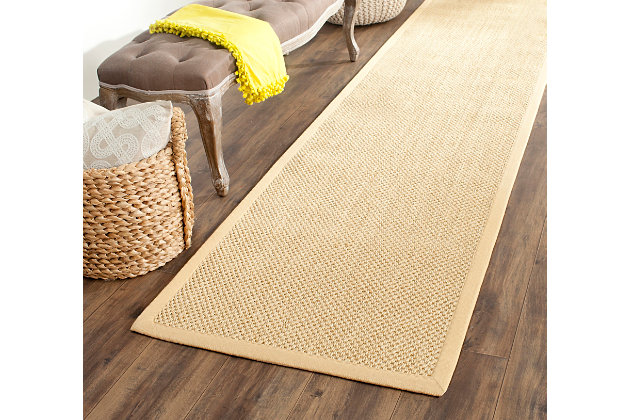 "Natural Fiber 2'6"" x 12' Runner Rug, Beige/Natural, large"