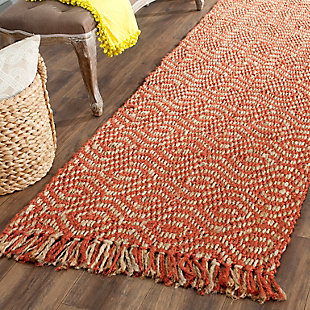 "Natural Fiber 2'6"" x 12' Runner Rug, Rust, rollover"