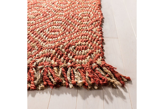 "Natural Fiber 2'6"" x 12' Runner Rug, Rust, large"