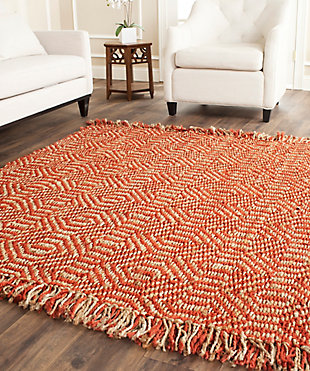 Natural Fiber 8' x 8' Square Rug, Rust, large