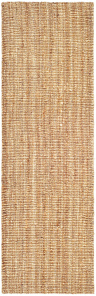 Natural Fiber 2' x 12' Runner Rug, Beige/Natural, large