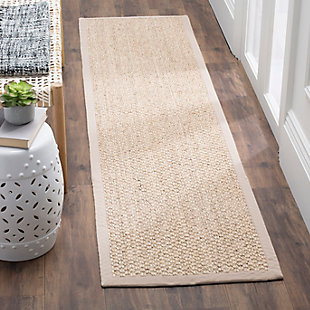 Natural Fiber 2' x 8' Runner Rug, Marble, large