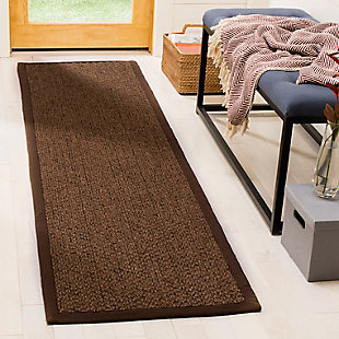 Natural Fiber 2' x 8' Runner Rug, Chocolate, rollover