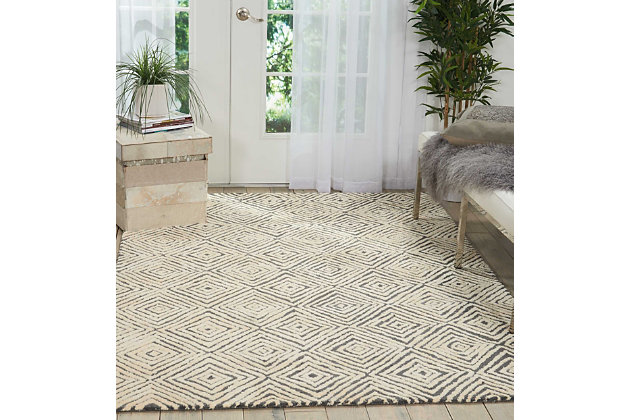 "Accessory Deco Mod Grey/Ivory 5'3"" x 7'4"" Area Rug, Charcoal/Ivory, large"