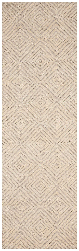 "Accessory Deco Mod Taupe/Ivory 2'3"" x 7'6"" Runner, Natural, large"