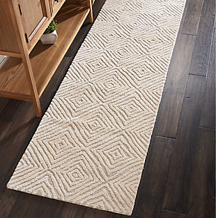 "Accessory Deco Mod Taupe/Ivory 2'3"" x 7'6"" Runner, Natural, rollover"