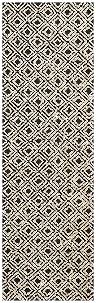"Accessory Deco Mod Black/Beige  2'3"" x 7'6"" Runner, Black/Beige, large"