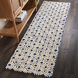 "Accessory Deco Mod Navy/Ivory 2'3"" x 7'6"" Runner, Ivory/Navy, large"