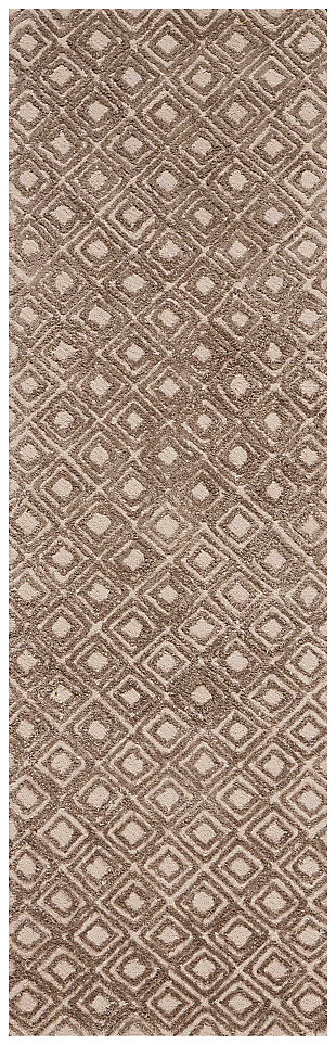 "Accessory Deco Mod Taupe  2'3"" x 7'6"" Runner, Beige/White, large"