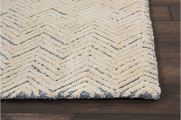 "Accessory Deco Mod Lt. Blue/Ivory 2'3"" x 7'6"" Runner, Pale Gray, large"