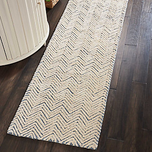 "Accessory Deco Mod Lt. Blue/Ivory 2'3"" x 7'6"" Runner, Pale Gray, rollover"