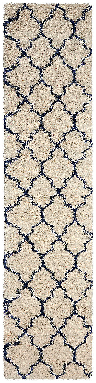 "Accessory Amore Aqua 2'2"" x 10'Runner, Ivory/Navy, large"