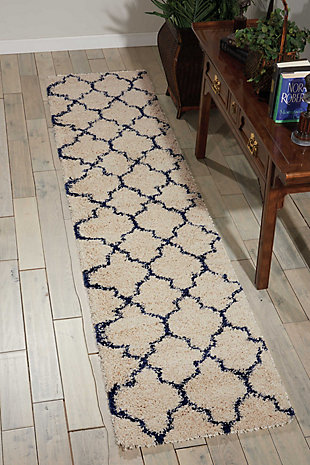 "Accessory Amore Aqua 2'2"" x 10'Runner, Ivory/Navy, rollover"