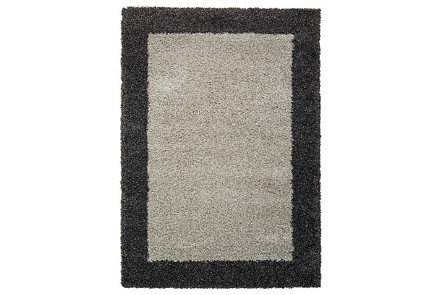 "Accessory Amore Silver/Charcoal 7'10"" x 10'10"" Area Rug, Charcoal, large"