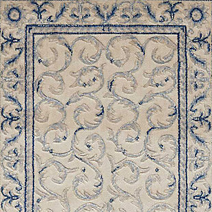 """Accessory Somerset Ivory Blue 2'3"""" x 8'Runner, Ivory/Navy, large"""