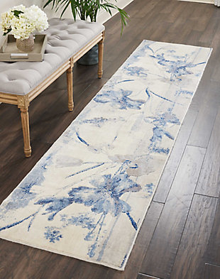 "Accessory Somerset Ivory Blue 2'3"" x 10'Runner, Ivory/Navy, rollover"