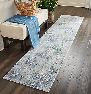 "Accessory Somerset Silver/Blue 2'3"" x 8'Runner, Blue/Silver, large"