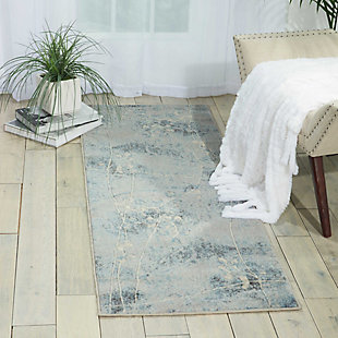 """Accessory Somerset Silver/Blue 2'x 5'9"""" Runner, Blue/Silver, rollover"""