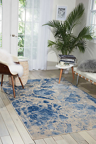 "Accessory Somerset Blue 5'3"" x 7'5"" Area Rug, Ink, rollover"