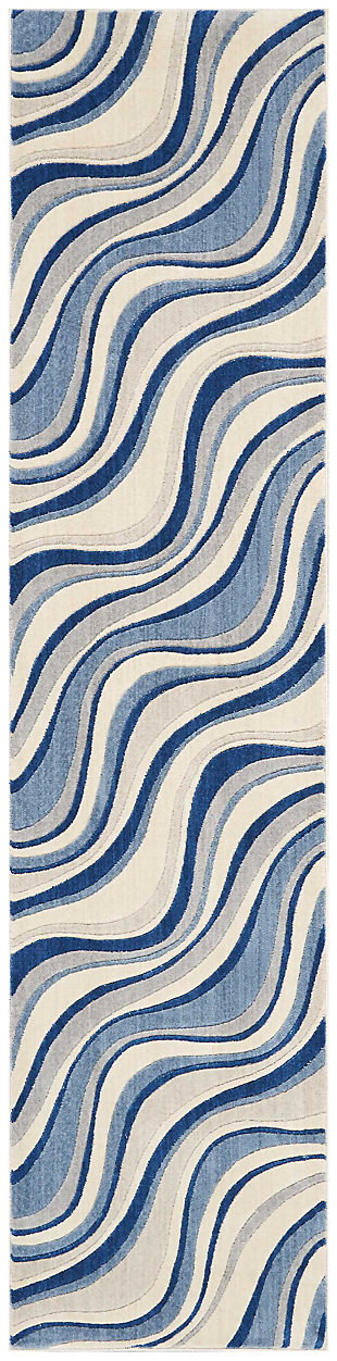 "Accessory Somerset Ivory Blue 2'3"" x 10'Runner, Ivory/Navy, large"