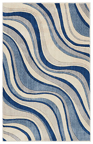 "Accessory Somerset Ivory/Blue 2'6"" x 4' Accent Rug, Ivory/Navy, large"