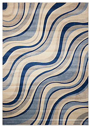 "Accessory Somerset Ivory/Blue 5'3"" x 7'5"" Area Rug, Ivory/Navy, rollover"