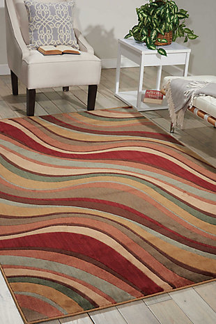 """Accessory Somerset Multicolor 3'6"""" x 5'6"""" Area Rug, Red/Beige, rollover"""
