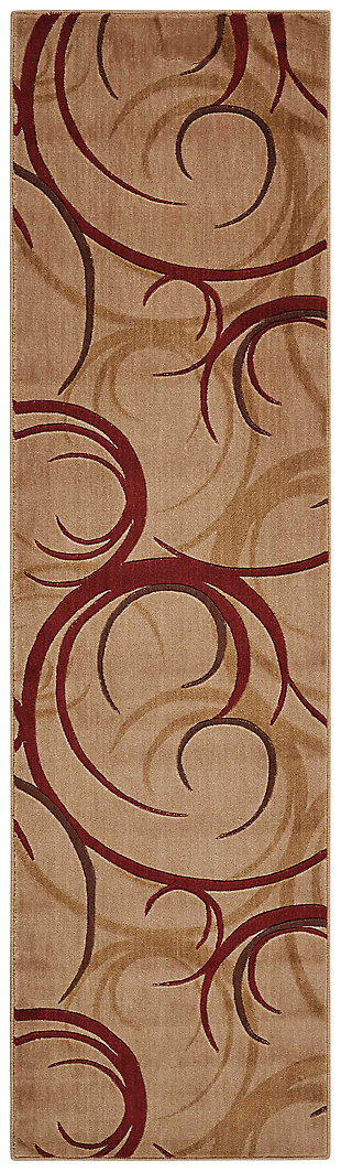 "Accessory Somerset Beige 2'3"" x 8'Runner, Red/Beige, large"