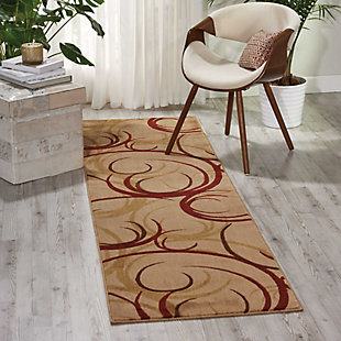 "Accessory Somerset Beige 2'3"" x 8'Runner, Red/Beige, rollover"