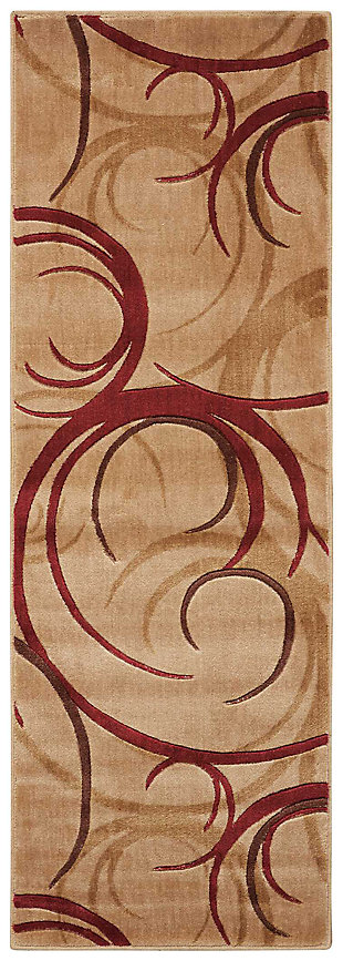 "Accessory Somerset Beige 2'x 5'9"" Runner, Red/Beige, large"