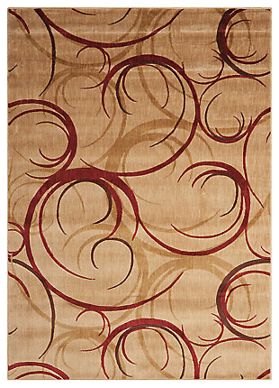 "Accessory Somerset Beige 5'3"" x 7'5"" Area Rug, Red/Beige, large"