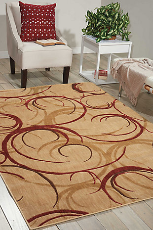 "Accessory Somerset Beige 5'3"" x 7'5"" Area Rug, Red/Beige, rollover"