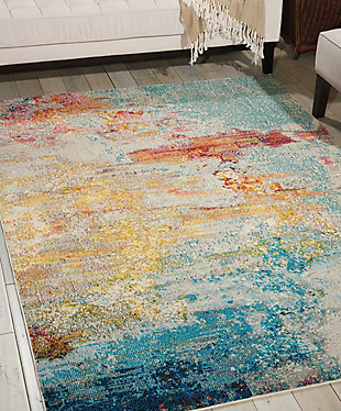 "Accessory Celestial Sealife 5'3"" x 7'3"" Area Rug, Pale Blue, rollover"