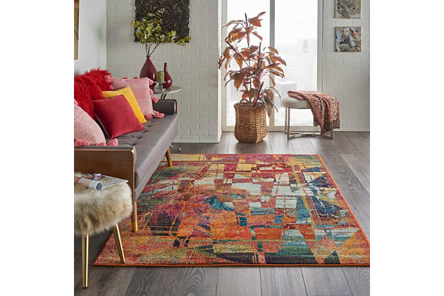 "Accessory Celestial Stained Glass 5'3"" x 7'3"" Area Rug, Sun, large"