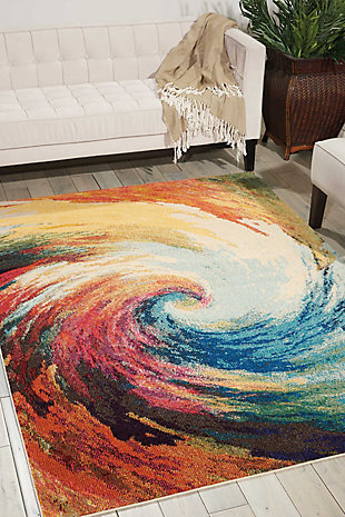 "Accessory Celestial Wave 5'3"" x 7'3"" Area Rug, Sunburst, rollover"