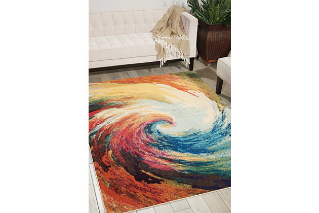"Accessory Celestial Wave 5'3"" x 7'3"" Area Rug, Sunburst, large"