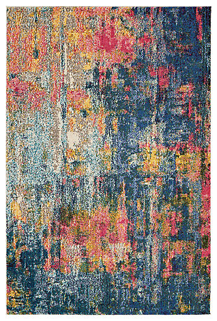 "Accessory Celestial Blue/Yellow 3'11"" x 5'11"" Area Rug, Splatter, large"