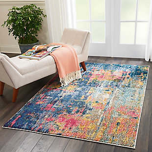 "Accessory Celestial Blue/Yellow 5'3"" x 7'3"" Area Rug, Splatter, rollover"