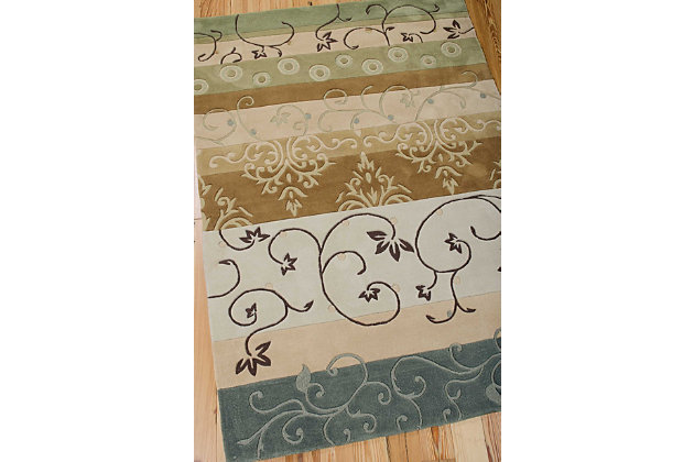 "Accessory Contour Green 5'x 7'6"" Area Rug, Brown/Green, large"