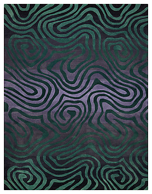 "Accessory Contour Smoke Teal 7'3"" x 9'3"" Area Rug, Smoke/Teal, large"