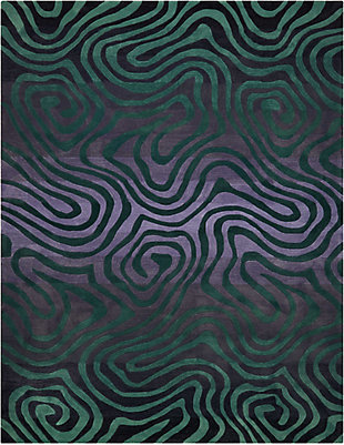 "Accessory Contour Smoke Teal 7'3"" x 9'3"" Area Rug, Smoke/Teal, rollover"